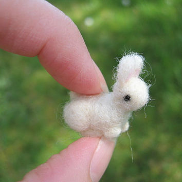 Needle Felted White Bunny Tiny Figure