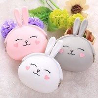 2017New Fashion Lovely Kawaii Candy Color Cartoon Rabbit Women Girls Wallet Multicolor Jelly Silicone Coin Bag Purse Kid Gift