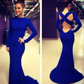 DCCKHQ6 Fashion Women Long Sleeve Prom Ball Cocktail Party Dress Formal Evening Gown