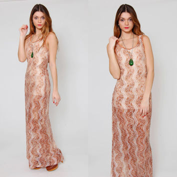 Vintage 90s LACE Dress Sleeveless Maxi Body Con Sheer OMBRE Slip Dress
