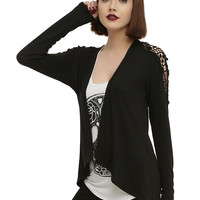 Black Crochet Skull Girls Cardigan