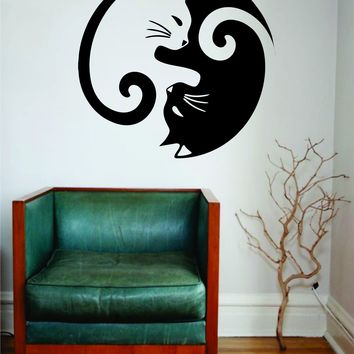 Cat Yin Yang Wall Decal Sticker Room Art Vinyl Beautiful Animal Nature Cute Baby Nursery Pet Namaste Yoga