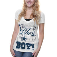 Dallas Cowboys Ladies I Tailgate V-Neck T-Shirt - White