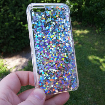 Holographic Hexagon Glitter Iphone 6 Clear Case Hand Painted Phone Case, Iphone 6 PLUS, Iphone 5S 5C, Iphone 4 S, Clear Phone Case