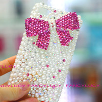 Bow iphone case - pearl iphone case - iphone 4 bow case - pearl iphone 4 case - bling iphone 4s case bow - crystal iphone 4 best iphone case