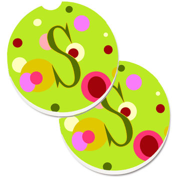 Letter S Monogram - Lime Green Set of 2 Cup Holder Car Coasters CJ1010-SCARC