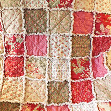 Red, Pink, and Green Floral Rag Quilt, Cottage Style, Large Lap Quilt