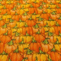 Pumpkin Fabric Fall Fabric Pumpkins Craft Fabric Quilt Fabric Remnant Fabric Home Decor Fabric Pumpkin Field Fabric