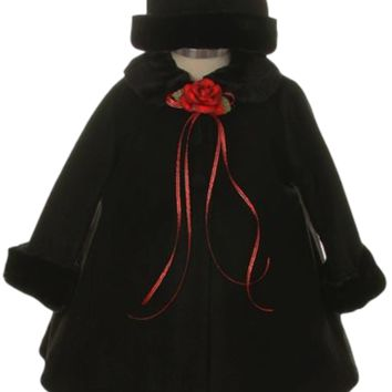 Black Fleece & Fur Trim Dress Coat  with Matching Fur Trimmed Hat (Baby Girls)