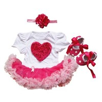 KUCI® Baby Girls' Bright Pink Love Heart Tutu Dress 3PCs Headband Shoes