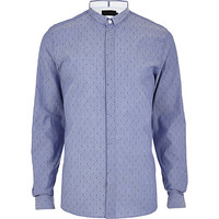 River Island MensLight blue Vito polka dot long sleeve shirt