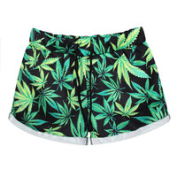Casual Print Leaf Pants Shorts [4919533572]