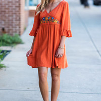 Standing In The Sun Dress, Burnt Orange