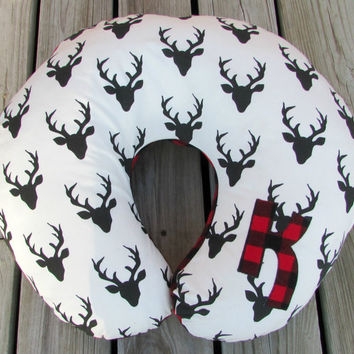 Boppy Cover, Buffalo Plaid, Nursing Pillow, Baby Boy Shower Gift, Photo Prop, Rustic Nursery Decor, Crib Bedding, Deer Stag, Personalized