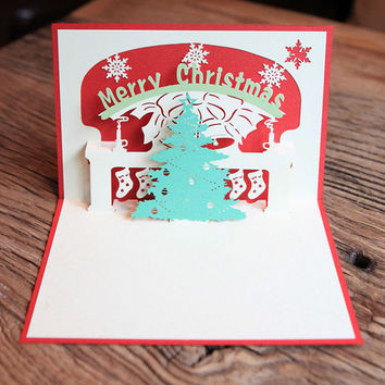 Paper 3D Pop Up Greeting Cards Handmade Merry Christmas Xmas Tree Postcard Gift
