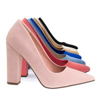 Ogden Pink By Not Just A Pump, Women's Retro Pump On Chunk Block High Heel