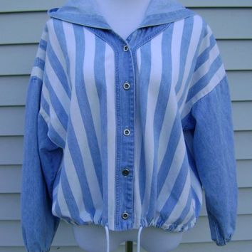 90s denim STRIPED hoodie jacket vintage oversized baggy fit blue jean coat size M medium button up down hipster boho outerwear 1990s revival