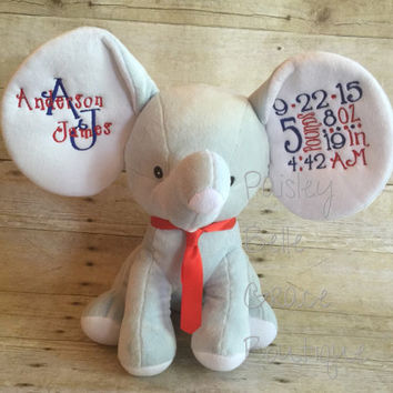 Embroidered Baby Cubbies Elephant Dumble Stuffed Animal Birth Announcement Keepsake Perfect Gift Idea for Baby Boy or Girl