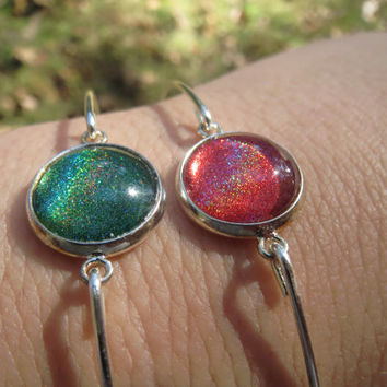 Nail Polish Jewelry - Bangle - Ruby / Green Holographic - Emerald / Jade - Silver Bangle - Cinnamon / Rouge - Bracelet 65mm