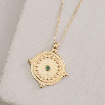 Antique Coin Necklace - Emerald