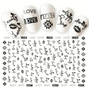 1 Sheet Summer Fruit Love Lace Alphabet 3D Nail Sticker Dessert Animal Flower Nail Art Adhesive Transfer Sticker Manicure Decal