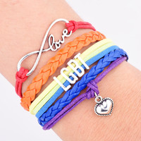 Drop Shipping Wrap LGBT Bracelet Infinity Love Friendship Gifts Wedding Charms Personal Jewelry