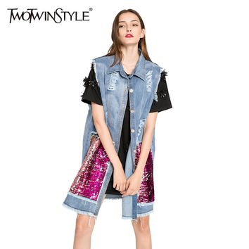 [TWOTWINSTYLE] 2017 Autumn Korean Fashion Sequins Hole Ripped Vintage Long Denim Jacket Vest Women Coat New Clothing