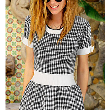 Black with White Trim Houndstooth Bow Knot Pleated Dress