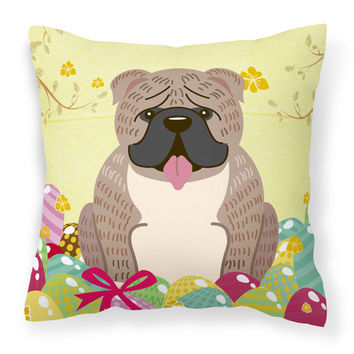 Easter Eggs English Bulldog Grey Brindle  Fabric Decorative Pillow BB6126PW1818