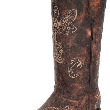 Circle G Women's Distressed Bone Dragonfly Embroidered Boot Snip Toe - L5001