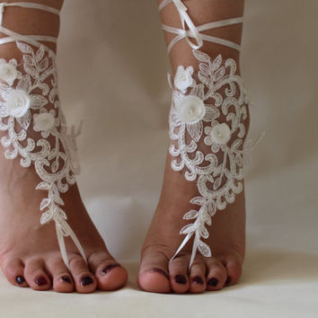 İvory lace.Barefoot Sandals, french lace, Nude shoes, ,Wedding Anklet, Beach Wedding Brefoot Sandals Belly Dance Foot Jewelry