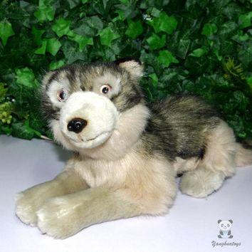 Lying Wolf Stuffed Animal Plush Toy 12""