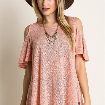 Open Shoulder Top - Peach