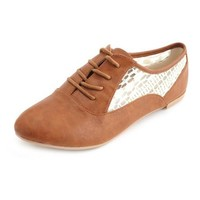 Lace Inset Oxford Flat: Charlotte Russe