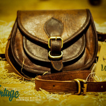 Vintage Handmade Goat Leather Women's Gypsy Style Bag /Purse/