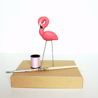 Miniature lawn flamingo - terrarium accessory - cake topper - potted plant - kitsch - hot pink - coral - bird  - alice in wonderland