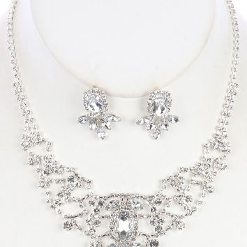 Clear Crystal And Rhinestone Bib Necklace And Earring Set