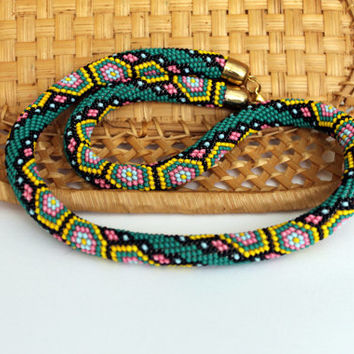 Bead crochet necklace with geometric pattern - Beaded rope necklace - Handmade jewelry - Beaded Necklaces  - green, yellow, pink,  black