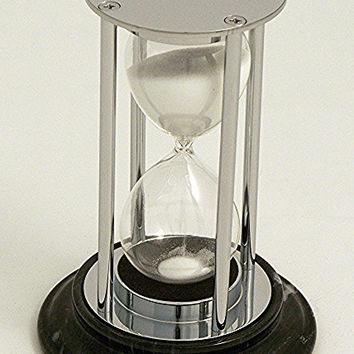 15 Minute Sand Timer in Chrome on a Black Marble Base