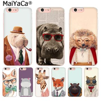 MaiYaCa Animal hippo fox hedgehog giraffe cat Newest Fashion phone case  for iPhone 876 6S Plus X 10 5 5S SE XR XS XS MAX
