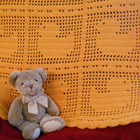Crochet Baby Blanket with ducks in Mango orange