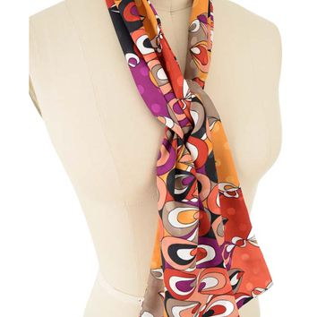 Vintage Mod Abstract Print Skinny Scarf