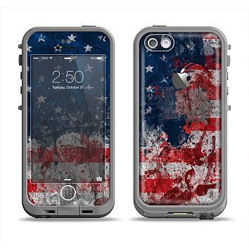 The Grungy American Flag Apple iPhone 5c LifeProof Fre Case Skin Set