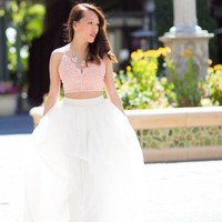 Full Swing Glam White Maxi Skirt