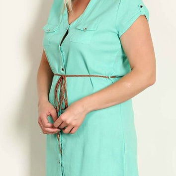 Belted Shirt Dress (Plus Size)