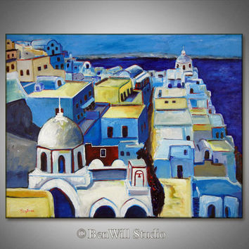 ORIGINAL Oil Painting SANTORINI GREECE White and Blue Modern Fine Art Landscape on Large Gallery Canvas 36x28 by BenWill