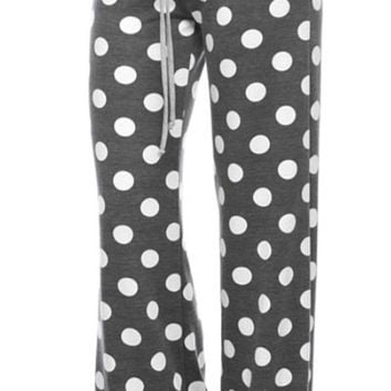 Casual Polka Dot Pants - Charcoal