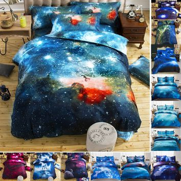 Top sale Quilt cover Universe Outer Space Themed Bed Linen Cover Set Single double Twin/Queen 2pcs bedding sets