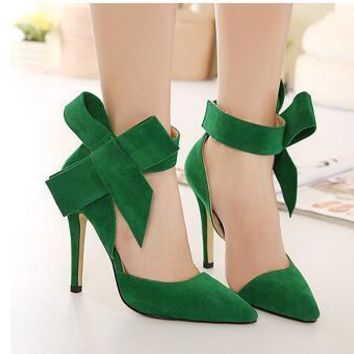 Plus Size Shoes Women Big Bow Tie Pumps Butterfly Sexy Pointed Stiletto Shoes Woman Hi
