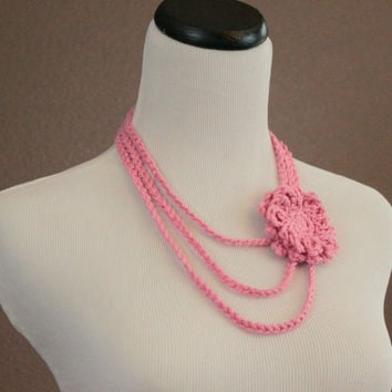 Crochet Necklace Flower Necklace Flower Brooch Layered Necklace Womens Accessories Light Pink